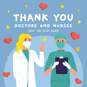 Gracias enfermeras y doctores ilustración