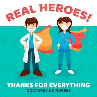 Gracias enfermeras y médicos mensaje de apoyo