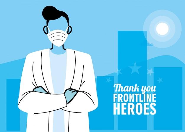 Gracias a los héroes de primera línea. doctor con máscara