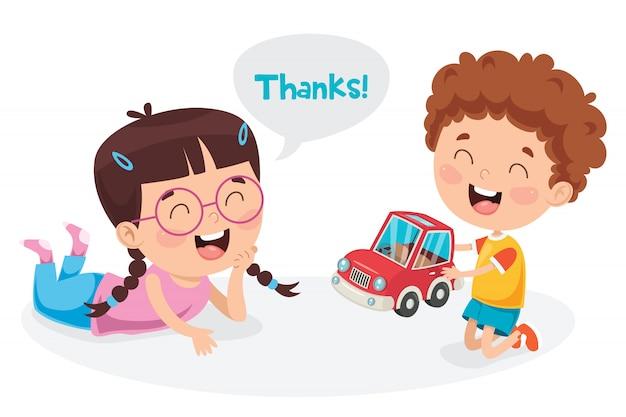 Gracias ilustración con personajes de dibujos animados