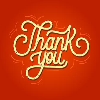 Gracias letras a mano con elemento ornamental sobre un fondo rojo.
