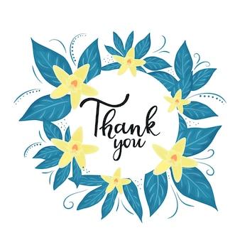 Gracias letras a mano. marco de flor de orquídea de acción de gracias.