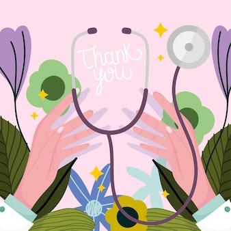 Gracias, manos doctora con equipo médico estetoscopio, ilustración de tarjeta de decoración de flores
