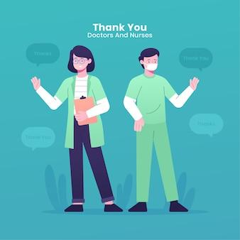 Gracias médicos y enfermeras concepto