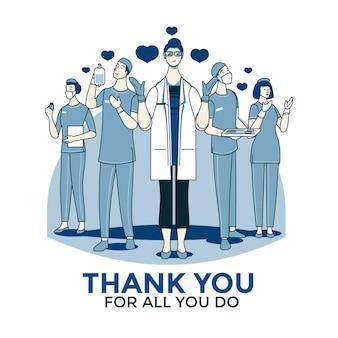 Gracias médicos y enfermeras de diseño.
