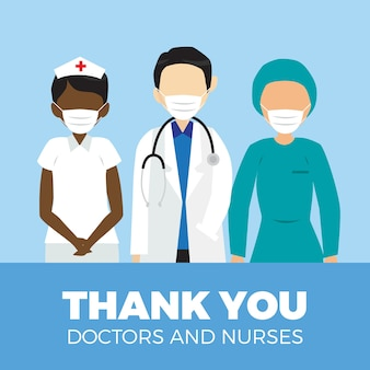 Gracias médicos y enfermeras mensaje estilo