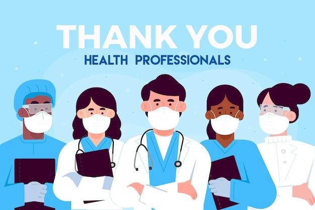 Gracias médicos y enfermeras profesionales de la salud.