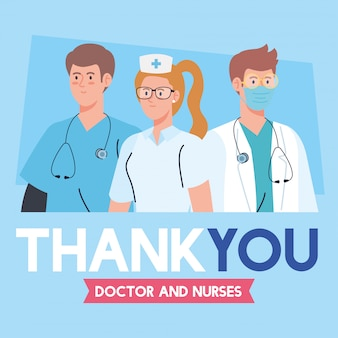 Gracias, médicos y enfermeras que trabajan en hospitales, luchando contra el coronavirus covid 19, diseño de ilustración vectorial.