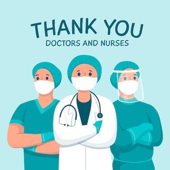 Gracias a los médicos y enfermeras tema de mensaje de apoyo