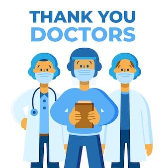 Gracias mensaje de enfermeras y doctores