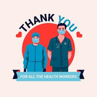 Gracias mensaje de médicos y enfermeras