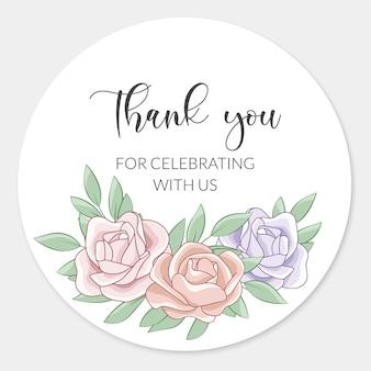 Gracias plantilla de tarjeta de boda con hermosas rosas