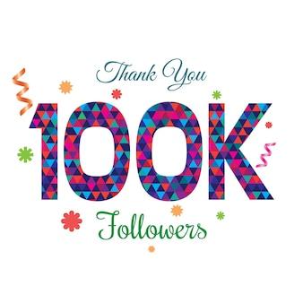Gracias seguidores 100k plantilla de diseño