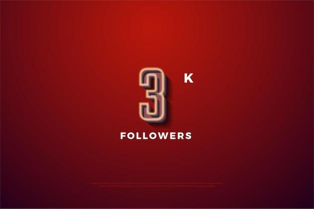 Gracias a los seguidores de 3000 con una línea numérica blanca suave