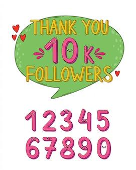 Gracias seguidores conjunto de números en estilo japón kawaii