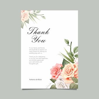 Gracias tarjeta con acuarela floral.