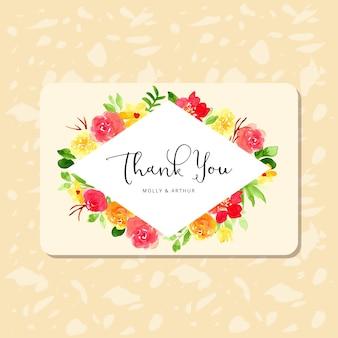 Gracias tarjeta con bonito marco de flores de acuarela