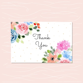 Gracias tarjeta con acuarela floral
