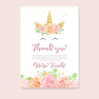 Gracias tarjeta con unicornio y rosa floral.