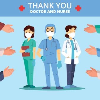 Gracias tema de mensaje de enfermeras y médicos