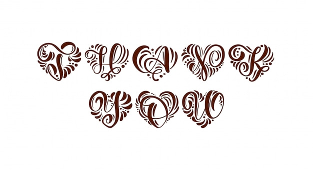 Gracias texto caligráfico escrito a mano en forma de corazón.
