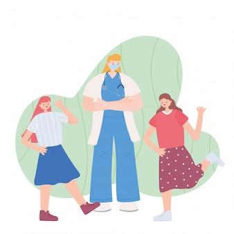 Gracias trabajadoras esenciales, doctora con niñas felices, con mascarilla, ilustración de la enfermedad por coronavirus