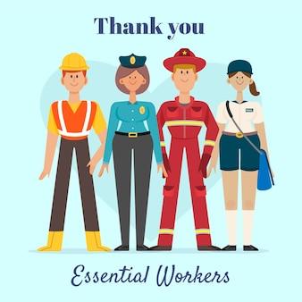 Gracias trabajadores esenciales dibujados a mano.