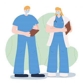 Gracias trabajadores esenciales, doctores masculinos y femeninos, con máscaras faciales, ilustración de la enfermedad por coronavirus