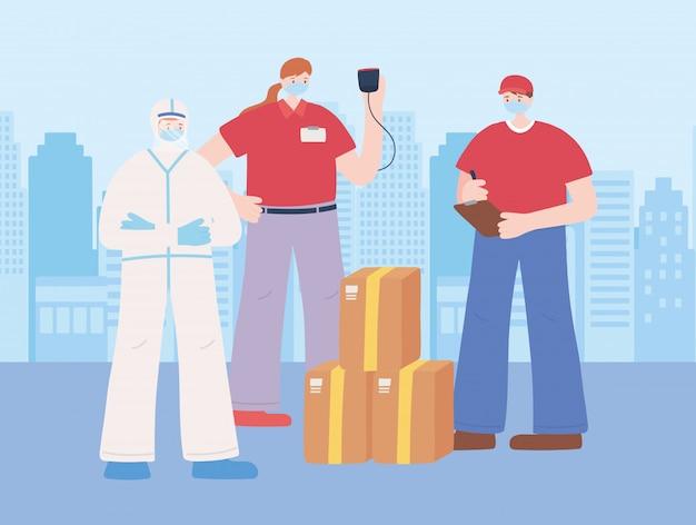 Gracias trabajadores esenciales, entrega de trabajadores y médico con traje protector, diversas ocupaciones, ilustración de la enfermedad por coronavirus