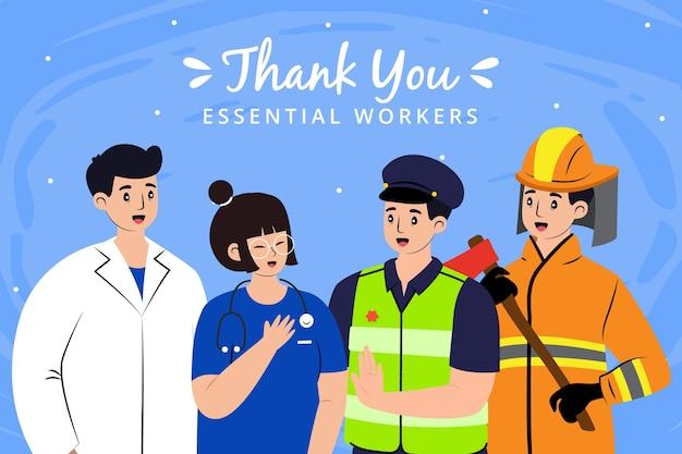 Gracias, trabajadores esenciales, ilustración.