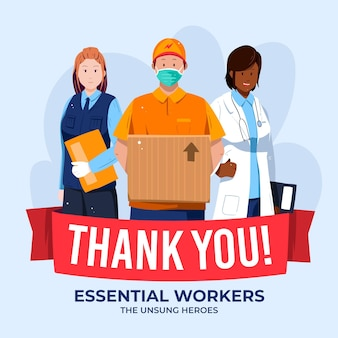 Gracias trabajadores esenciales ilustrados.