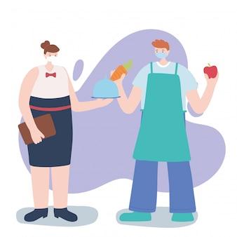 Gracias a los trabajadores esenciales, personajes de camareras y granjeros, con máscaras faciales, ilustración de la enfermedad por coronavirus