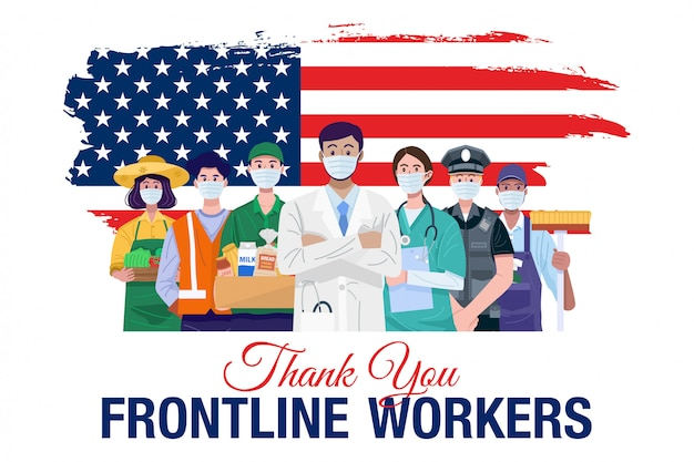 Gracias a los trabajadores de primera línea. diversas ocupaciones personas de pie con la bandera americana. vector