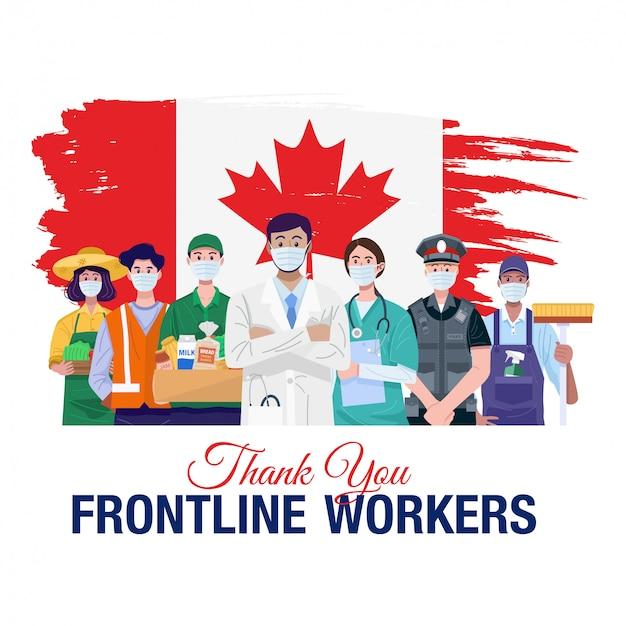 Gracias trabajadores de primera línea. varias ocupaciones personas de pie con la bandera de canadá. vector
