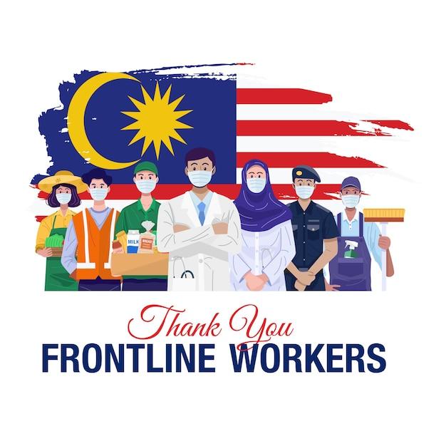 Gracias trabajadores de primera línea. varias ocupaciones personas de pie con la bandera de malasia.