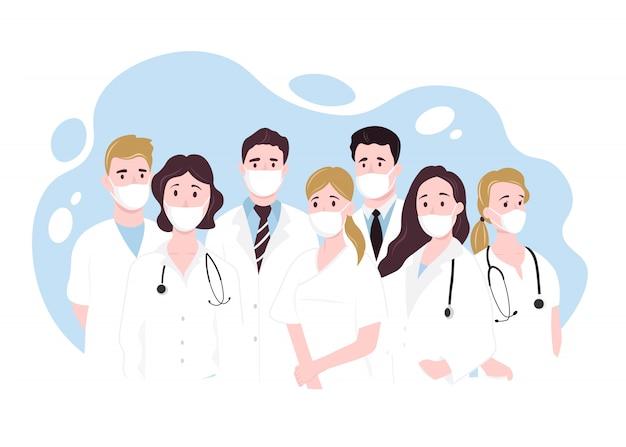 Gracias valiente atención médica trabajando en los hospitales y luchando contra el brote de coronavirus. ilustración
