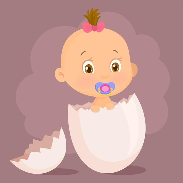 Graciosa niña naciendo de un huevo