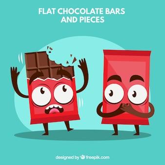 Graciosas caricaturas de barras de chocolate