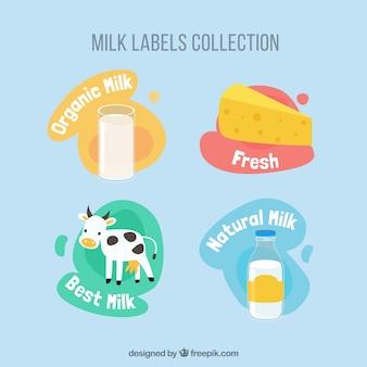Graciosas pegatinas de productos de leche