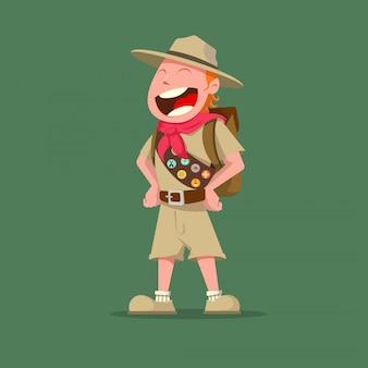 Gracioso boy scout con insignias