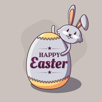 Gracioso conejo con huevo colorido