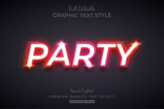Gradient party efecto de estilo de texto personalizado editable premium