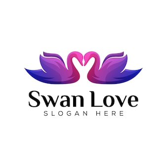 Gradient two swan love logo design