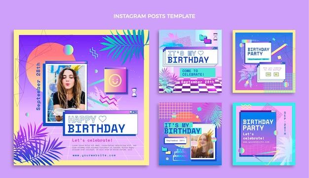 Gradient vaporwave cumpleaños publicación de instagram