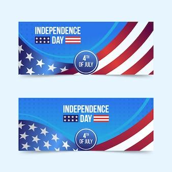 Gradiente 4 de julio - conjunto de banners del día de la independencia