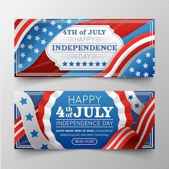 Gradiente 4 de julio día de la independencia conjunto de banners
