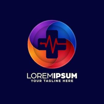 Gradiente abstracto colorido redondeado más plantilla de diseño de logotipo de salud de pulso