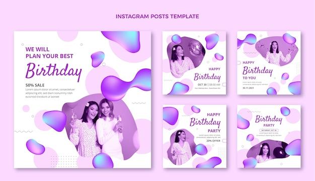 Gradiente abstracto fluido cumpleaños publicación de instagram