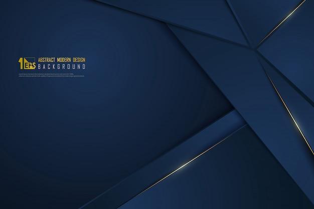 Gradiente azul abstracto lujo línea dorada plantilla fondo premium.