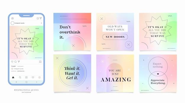 Gradiente citas inspiradoras colección de publicaciones de instagram